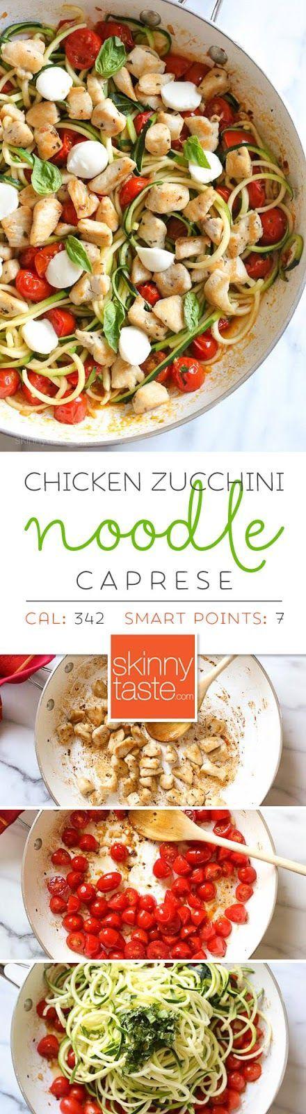 Chicken Zucchini Noodle Caprese - 2 servings at 342 cals, 17 grams fat, 34 grams protein, 15 grams carbs, 4 grams fiber, 2 grams sugar