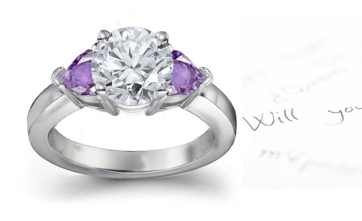 purple and diamond engagement ring