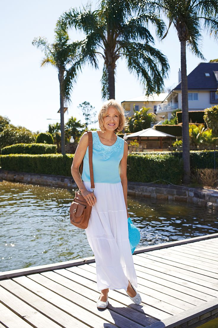 For an easy everyday outfit, simply team a basic tank with a floaty skirt and sandals.