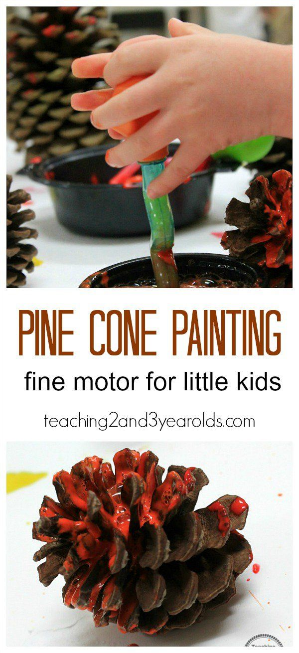 Pine cone painting - a fun fine motor activity for fall for toddlers and preschoolers - Teaching 2 and 3 Year Olds