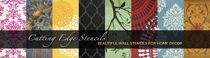 I have to remember this website!  Lots of BIG stencils for the wall.....why wallpaper when you can stencil?  And little stencils for everything else!