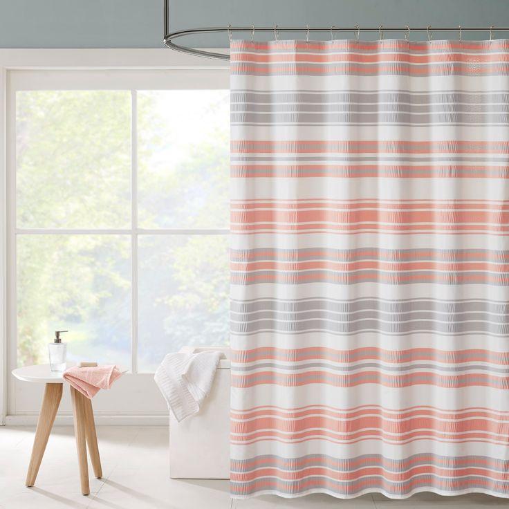 Intelligent Design Sonia Puckering Yarn-dyed Shower Curtains