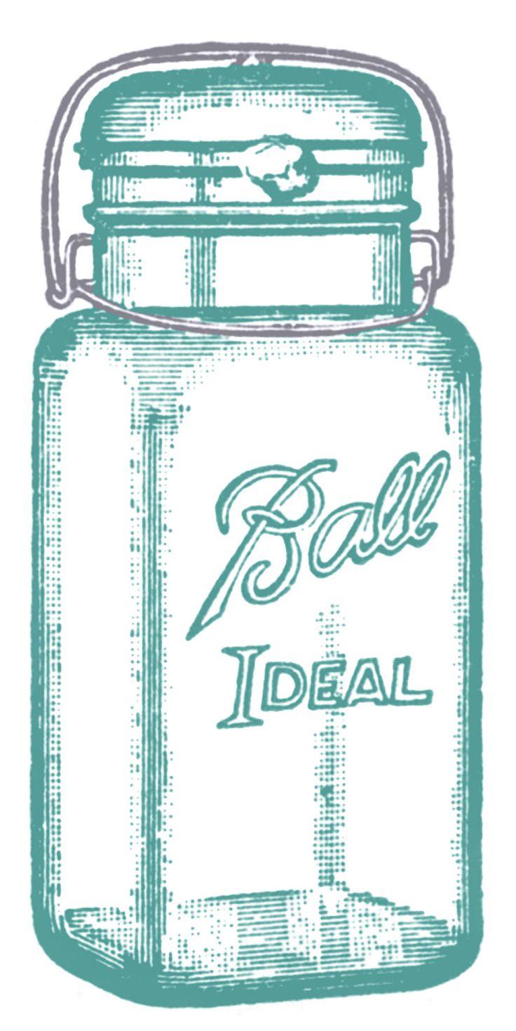 Vintage Clip Art - Cute Glass Mason Jar - Label - The Graphics Fairy