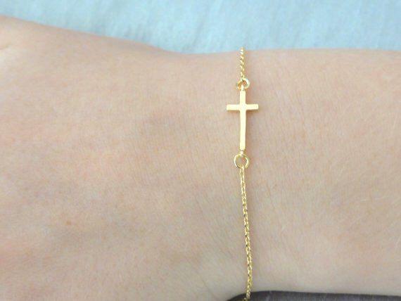 Delicate Gold Cross bracelet, baby boy/girl christening  bracelet  14K Gold fill chain, Baptism bracelet, Friedndship bracelet by LAminiJewelry on Etsy https://www.etsy.com/listing/241765302/delicate-gold-cross-bracelet-baby