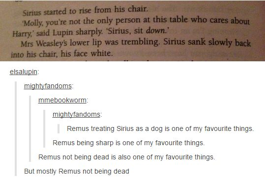 Remus not dead is always better than the alternative.