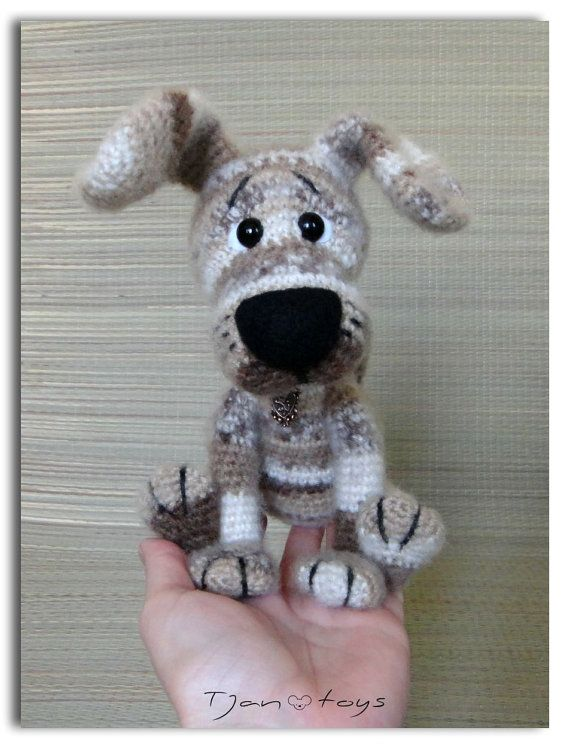 Puppy OOAK Little Dog Stuffed Animals Crochet Handmade Soft