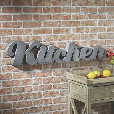 Kitchen Sign from Country Door. One-piece metal word sign adds a modern touch to your kitchen.