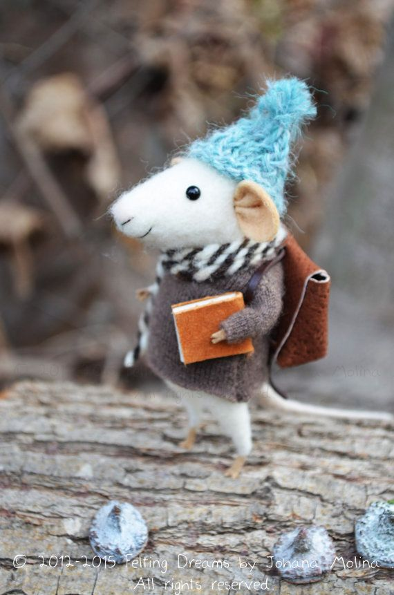 Little Traveler Mouse Felting Dreams READY TO by feltingdreams