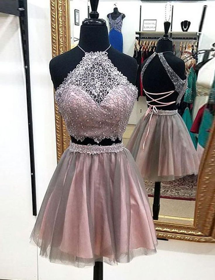 Two Piece Prom Dresses,Blush Prom Dresses,Beading Lace Prom Dresses,Prom Dresses 2017