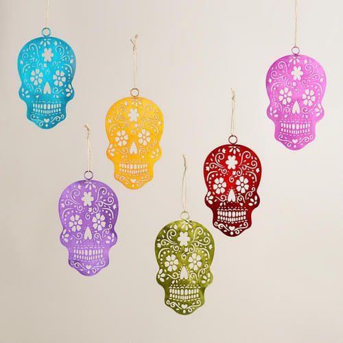 One of my favorite discoveries at WorldMarket.com: Metallic Los Muertos Skull  Ornaments, Set of 6