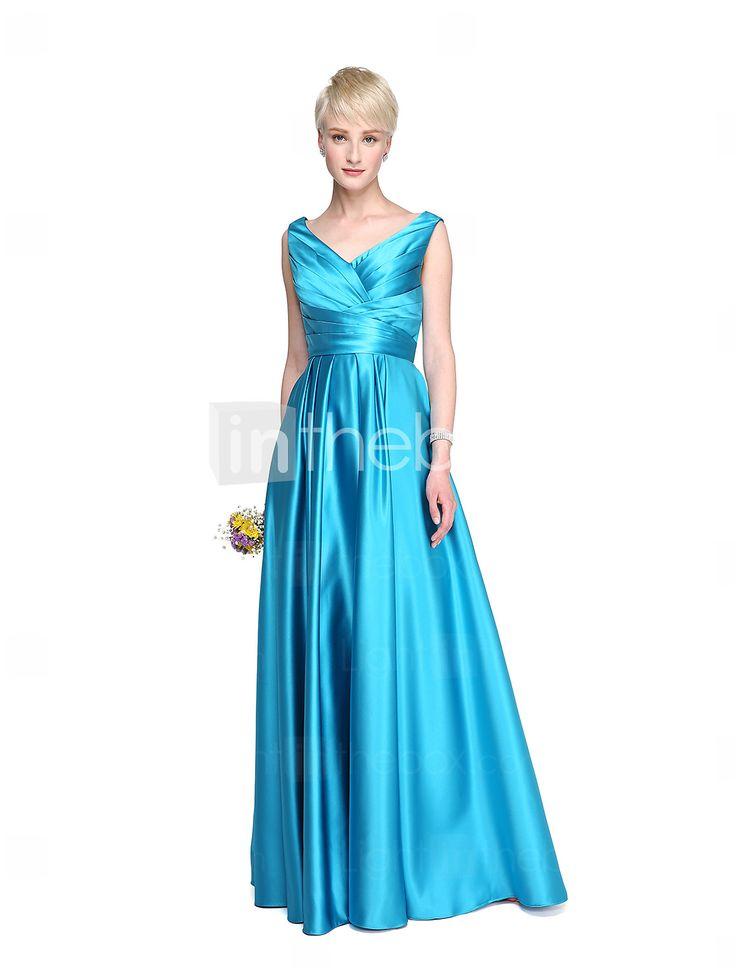 Lanting Bride® Hasta el Suelo Satén Elegante Espalda Bonita Vestido de Dama de Honor - Corte en A Cuello en V conBolsillos En Cruz 5411790 2017 – €79.37