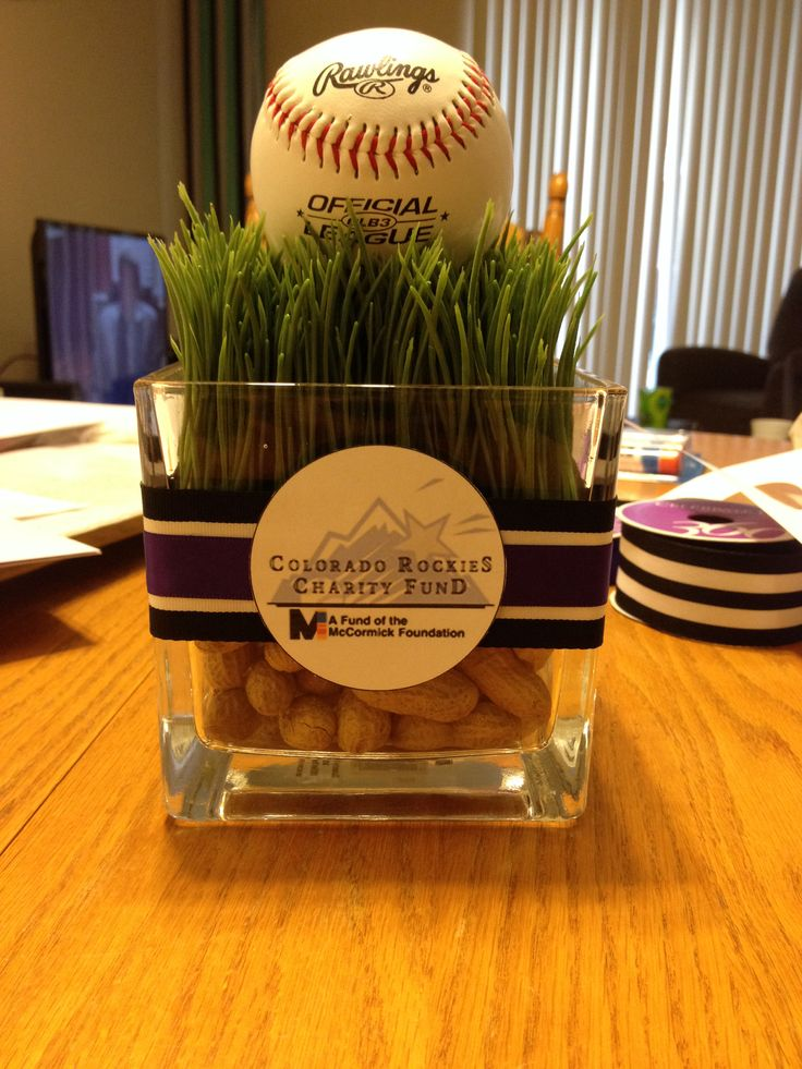 Centerpiece for a baseball themed party