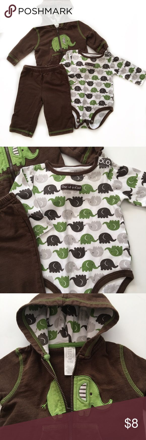 🐘Adorable 3pc Set🐘 3 of elephant set by Just One You By Carter's. Hoodie, sweatpants, and matching onesie. Carter's Matching Sets