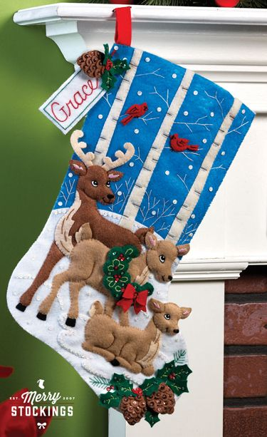 Deer Family Bucilla Christmas Stocking Kit - New release - available to order early May.