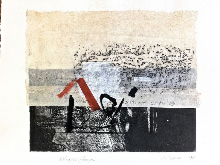 ELAINE d'ESTERRE - Weano Gorge, 1/1, 2014, intaglio, frottage  and collage by Elaine d'Esterre at elainedesterreart.com and http://www.facebook.com/elainedesterreart/ AVAILABLE at https://original-artwork.myshopify.com/collections/all
