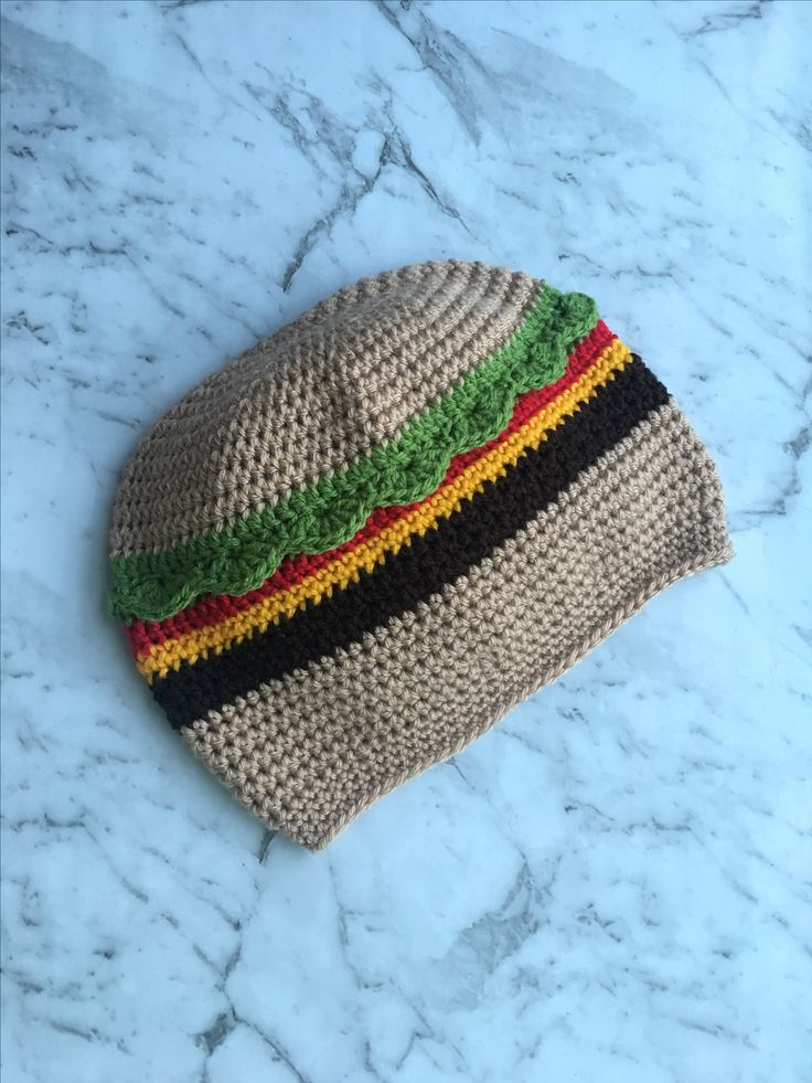 Crochet Burger Beanie now available on Etsy!