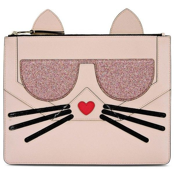 Karl Lagerfeld K/Kocktail Choupette Pouch (£115) ❤ liked on Polyvore featuring bags, handbags, clutches, sea shell, pouch handbag, pouch purse, glitter purse, karl lagerfeld and pink purse