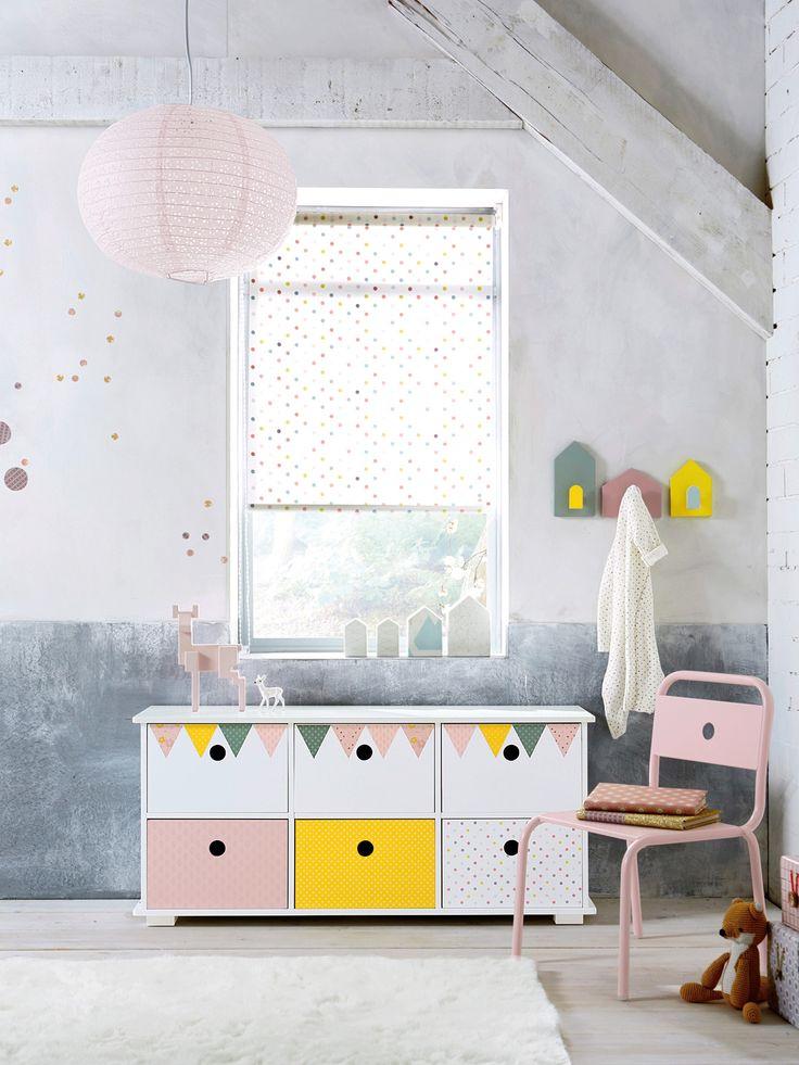 New Raffrollo mit Tupfen von Vertbaudet in hellweiss einf rbig mit app Nur uac Versand Kinderzimmer jetzt bei Vertbaudet bestellen