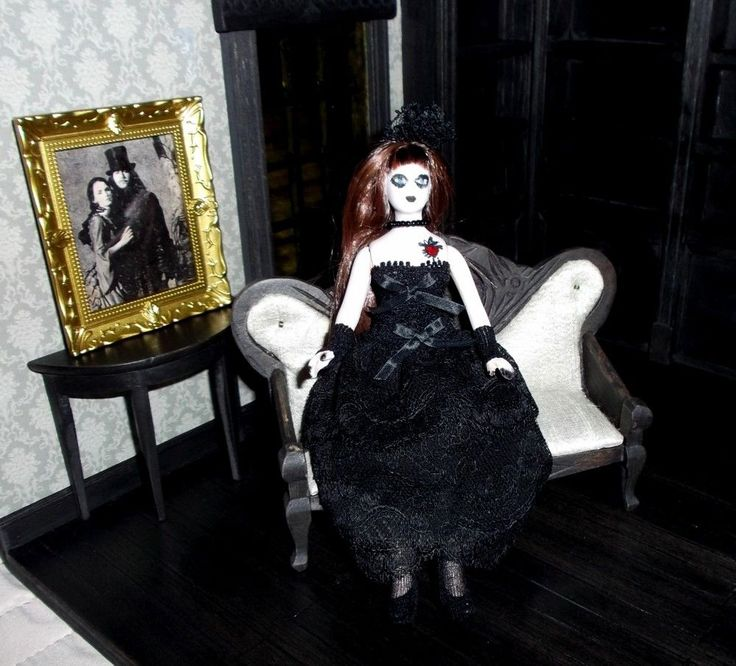 Vampiric, Goth doll in goth outfit, artist handmade,1:12 Lovely for Halloween!