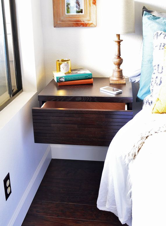 Two Modern Hanging Floating Nightstands Drawers Mayan
