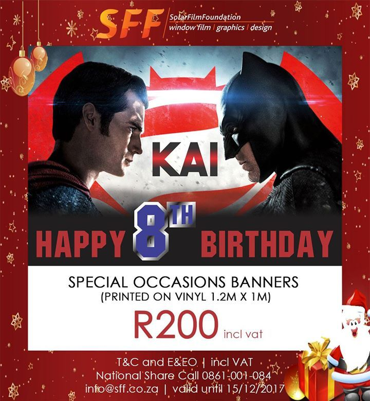 Having a special event? Do you need an awesome banner? Call us on +27 31 573 9000 or email on info@sff.co.za.