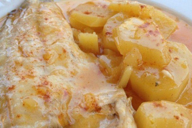 Foto de la receta de lubina asada con patatas