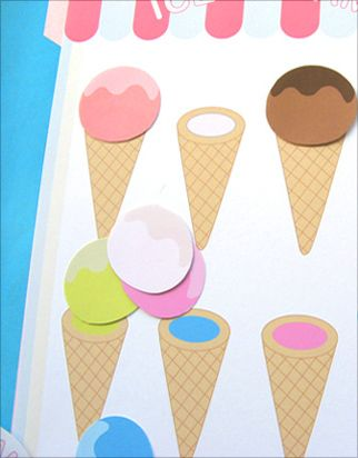 Free Printable File Folder Games - Ice Cream Color Match