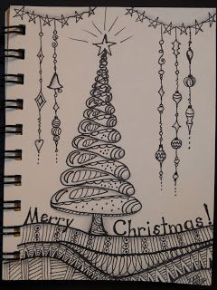 Trish's Artistic Adventures: Zentangle Inspired Art - Christmas Tree