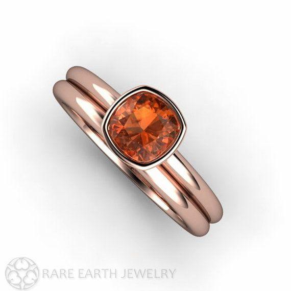 Orange Sapphire Ring Wedding Set Bezel Cushion Solitaire in 14K White Yellow Rose Gold or Palladium Gemstone Ring