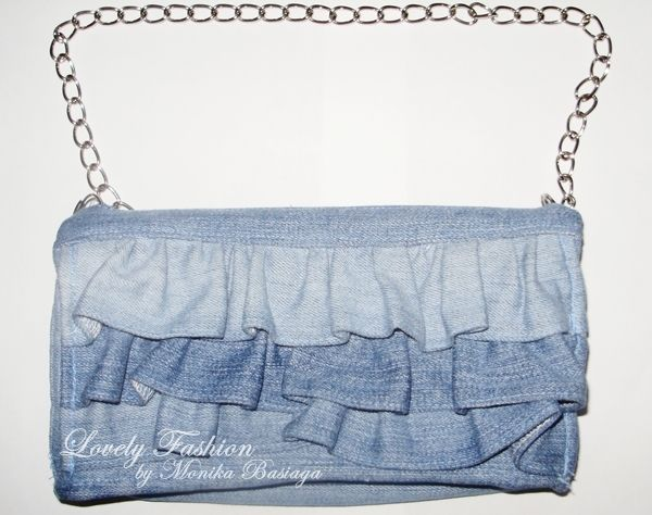 denim crossbody bag with frills