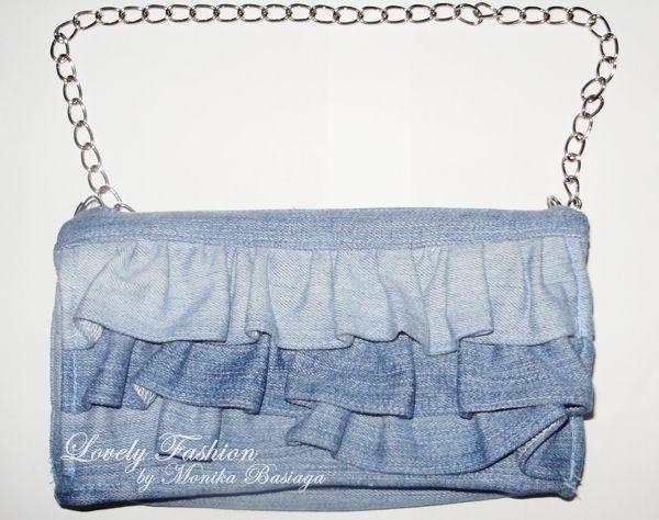 denim crossbody bag with frills