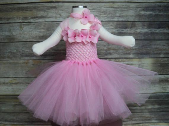 Baby pink tutu dress & hydrangea petal headband 0 - 12 mos. girl ready to ship Easter photo prop wedding coming home pageant shower gift