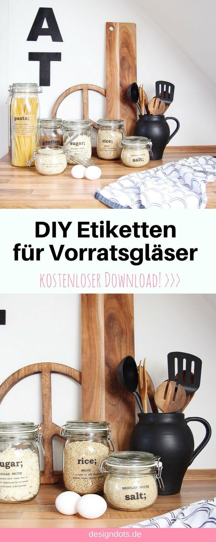 DIY Etiketten Aufkleber Labels für Vorratsgläser Gläser. kostenloser download, Freebie, ausdrucken und auf die Gläser klebende