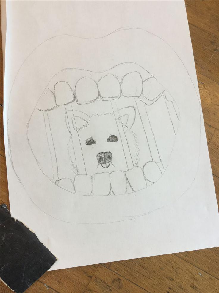 Dit is mijn schets. Ik heb het maatschappelijk probleem  'dierenmishandeling' gekozen, en dan martelen van het honden voor het eten in Korea. De mond is dan iemand die de hond eet, en er zit dan een mishandelde hond in. Die achter een kooi zit. Want de honden die worden gegeten zitten allemaal in kleine kooien.