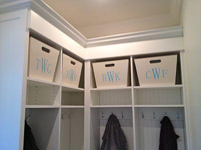 handmade monogrammed wooden storage bins