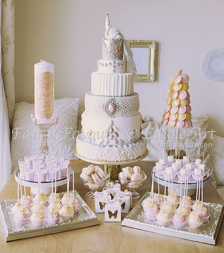 Vintage Peach & Pink Wedding Dessert Table | Fancy Favours & Edible Art -- #vintage #pearl #jewel #peach #pink #white #ornate #fancy #cake #weddingcake #cakepops #macaron #marshmallows #sweettree #pillarcandle #engagement #chocolate #vanilla #treats #favours #weddingfavours #wedding #handmade #edibleart