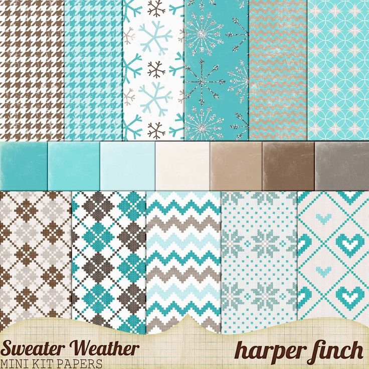 Sweater Weather, Mini Kit Papers by harperfinch Free Digital Scrapbooking Papers, blue gray, brown and white papers, winter
