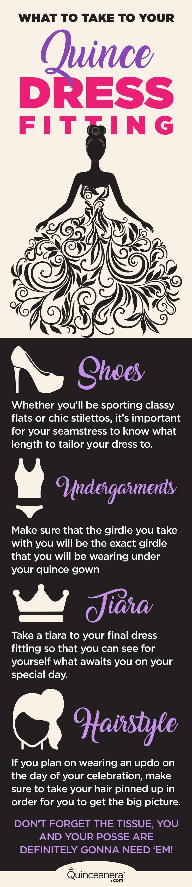 Quinceanera.com presents a list of items that you must take with you when visiting your seamstress, and the reasons why leaving home without 'em might set you up for less than perfect quince gown alterations.