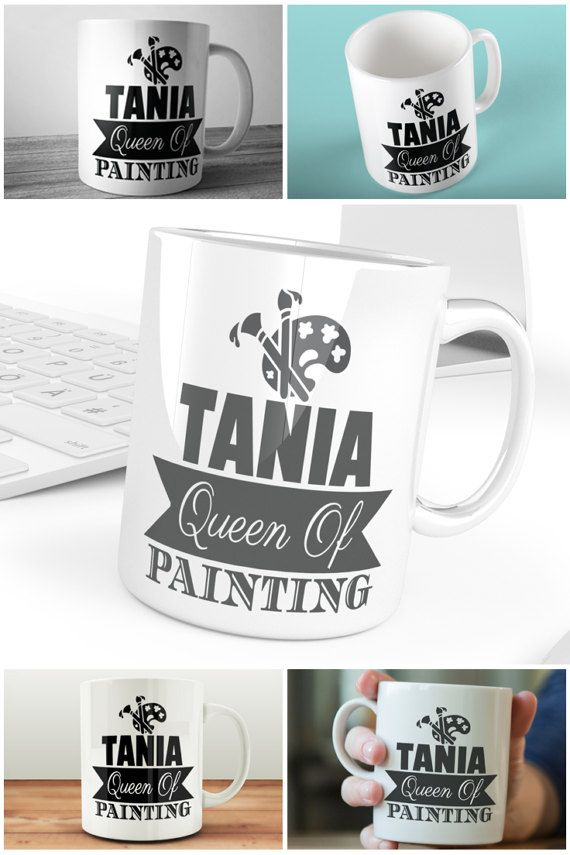 Queen of Painting Mug Personalised Mugs UK Artist Mugs by Prandski