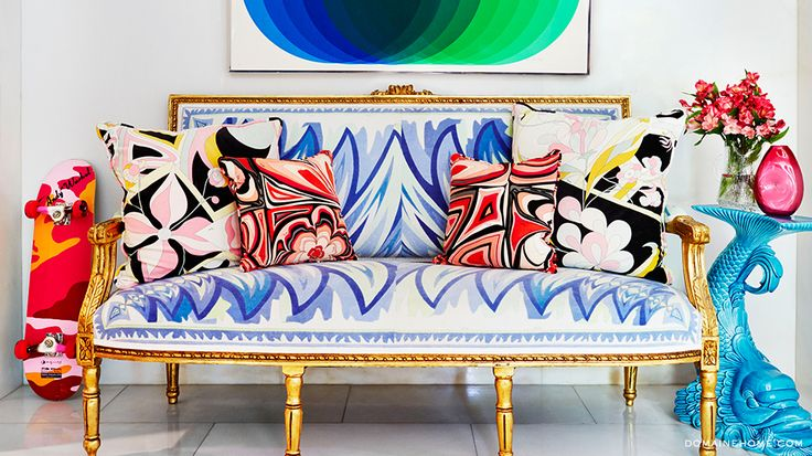 Home Tour: A Fashion Designer\'s Pop Art Palace // Emilio Pucci, settee, pillows, Throw Pillows, skateboard, Andy Warhol, Art