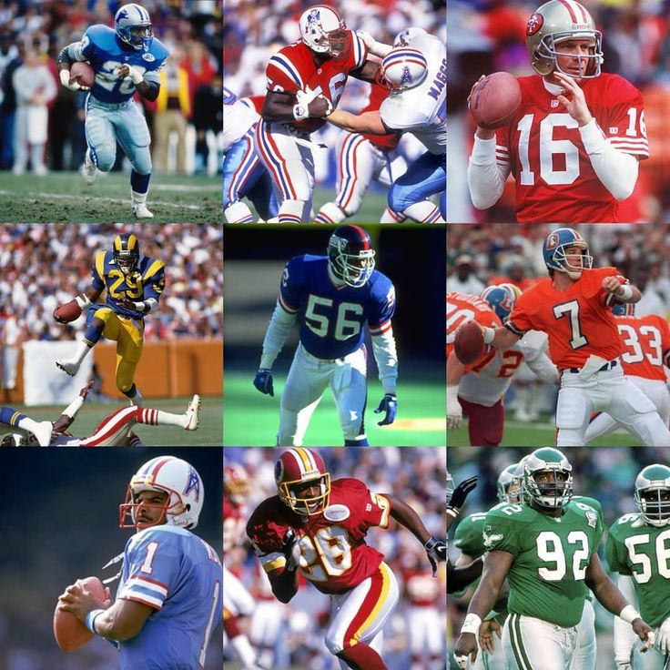 #nfl #retrojerseys #sanfrancisco49ers #newyorkgiants #newenglandpatriots #philadelphiaeagles #houstonoilers #detroitlions #losangelesrams #washingtonredskins #denverbroncos  Old school uniforms were the best!  Maybe it's nostalgic but I just think they're so much better looking.  Which of these is your favorite?  The red jersey & gold pants of the 80's 49ers? The Kelly Green & silver Eagles?  Even something as plain and simple as the LT pic is great!  @barrysanders @johnelway @joemontana…