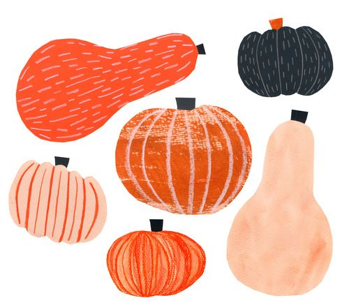 Herbert Green, pumpkin, october, design, illustration, collage, texture. print, orange, autumn, drawing