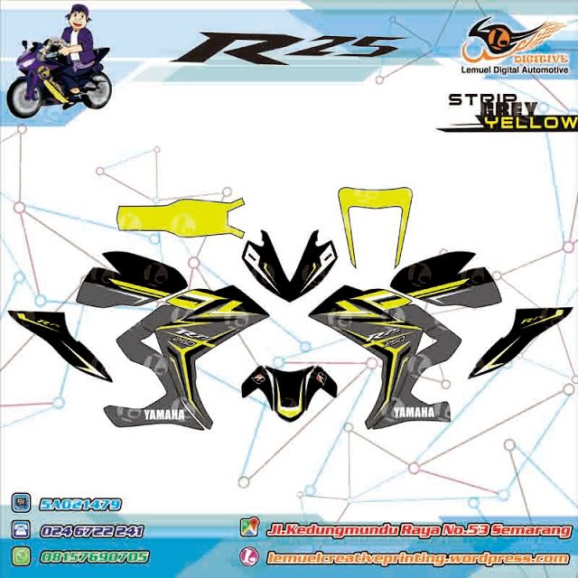 Custom Decal Vinyl Full Body Striping Motor Yamaha R25 Thema Strip Gray Yellow Stabillo Berkualitas by DIGITIVE