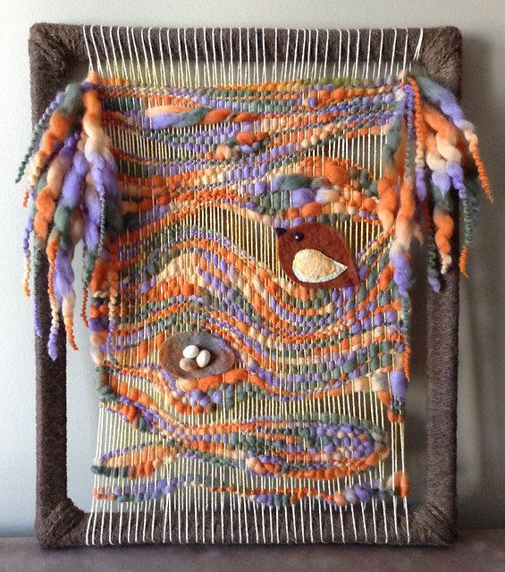 Hand Woven Whimsical Wall Hanging Original Art by vicjordan