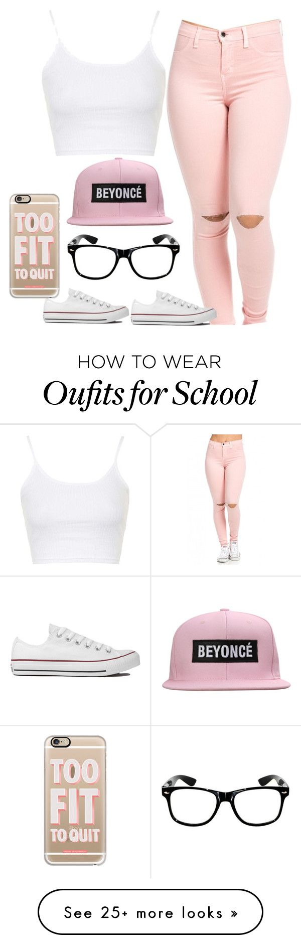 """School Time "" by jaylaspin on Polyvore featuring Converse, Topshop and Casetify"