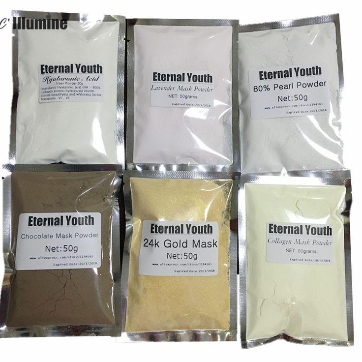 50g * 6 24 K Gouden Masker-Hyaluronzuur-Collageen-80% parel-Chocolade-Lavendel Peel Off Gezichtsmasker Poeder Luxe Spa