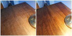 Utilisez du vinaigre blanc et de l'huile d'olive pour nettoyer une table en bois (mélange des deux, frotter avec un chiffon, voilà)