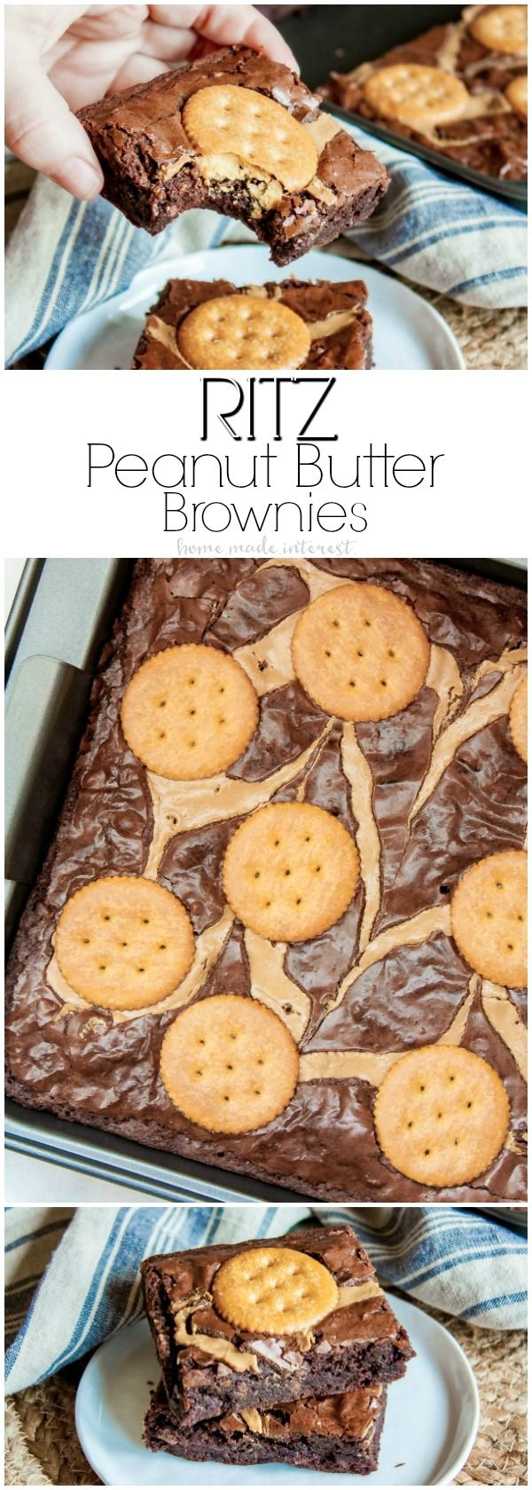 RITZ Peanut Butter Brownies | This sweet and salty dessert recipe is super easy to make and so good!   There will be live demos with RITZ crackers and Peter Pan® Creamy Peanut Butter in Walmart on 4/15! Make sure you stop by to get a free recipe handout with coupon, and spin for a chance to win a Walmart gift card or a free box of RITZ! #RITZpiration #ad