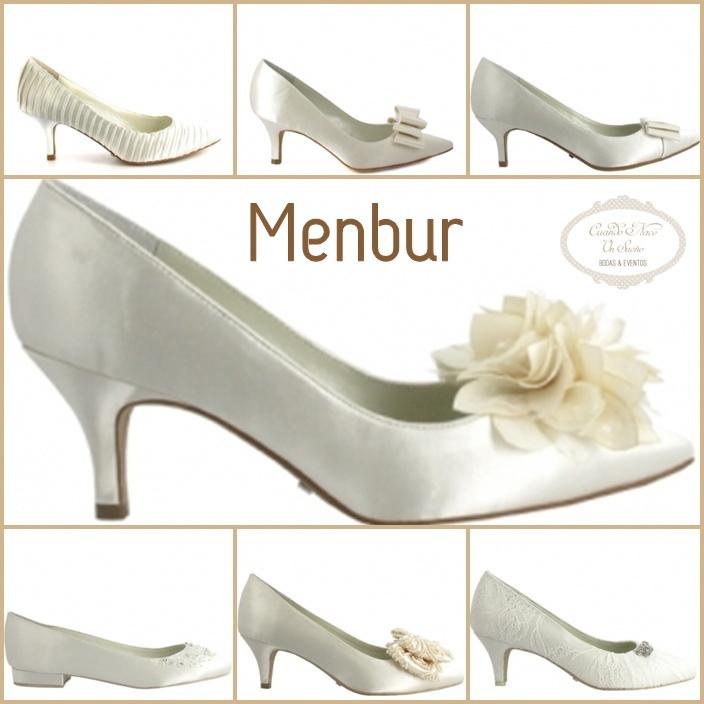 ZAPATOS NOVIA MENBUR wedding shoes. Zapatos de novia con tacón medio-bajo o plano