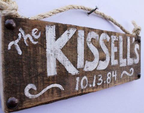 Custom White Wedding Sign Distressed Wood Decor by MangoSeed, $25.00